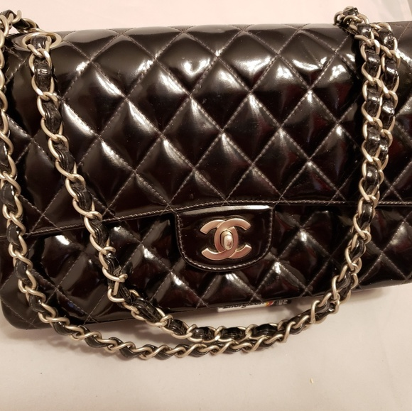 CHANEL Handbags - CHANEL 2.55 Classic Medium Quilted Black Patent Le